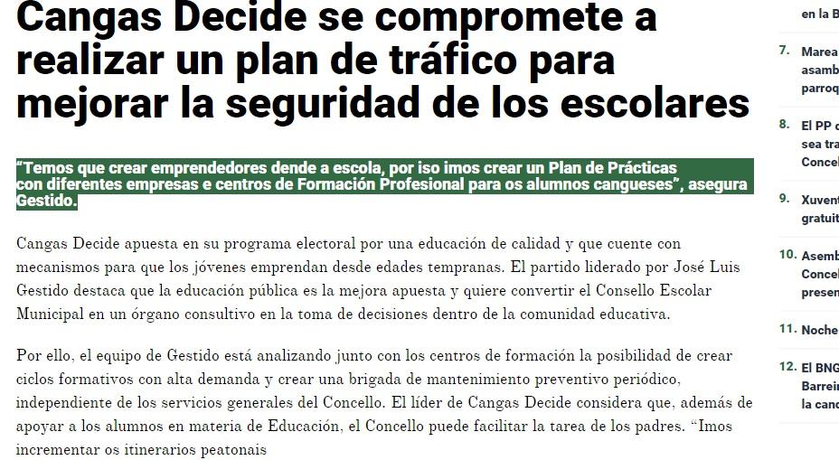 Cangas Decide se compromete a realizar un plan de tráfico para mellorar a seguridade escolar