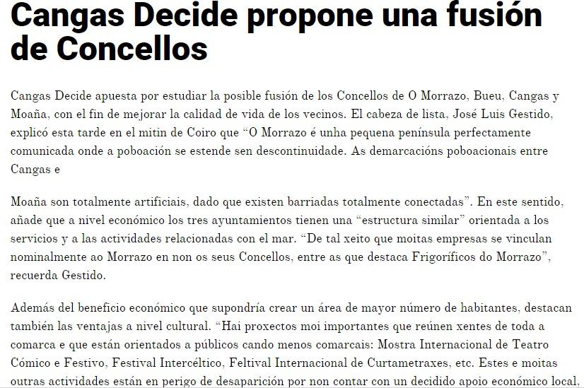 Cangas Decide propone unha fusión de Concellos
