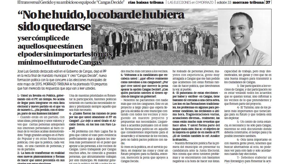 Entrevista a Gestido en Morrazo Tribuna